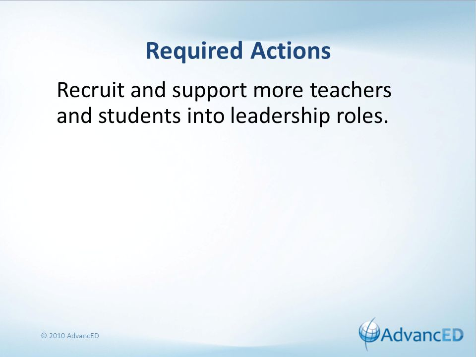 Required Actions Recruit and support more teachers and students into leadership roles.
