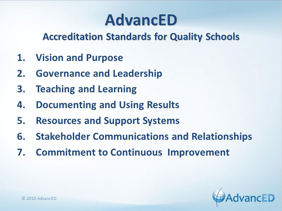 AdvancED Accreditation Standards for Quality Schools 1.Vision and Purpose 2.Governance and Leadership 3.Teaching and Learning 4.Documenting and Using Results 5.Resources and Support Systems 6.Stakeholder Communications and Relationships 7.Commitment to Continuous Improvement © 2010 AdvancED