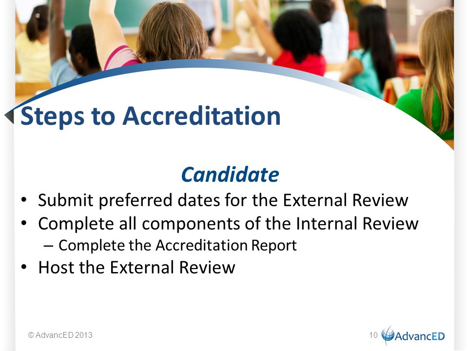 Steps to Accreditation Candidate Submit preferred dates for the External Review Complete all components of the Internal Review – Complete the Accreditation Report Host the External Review © AdvancED