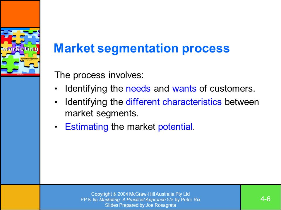 Copyright  2004 McGraw-Hill Australia Pty Ltd PPTs t/a Marketing: A Practical Approach 5/e by Peter Rix Slides Prepared by:Joe Rosagrata 4-6 Market segmentation process The process involves: Identifying the needs and wants of customers.