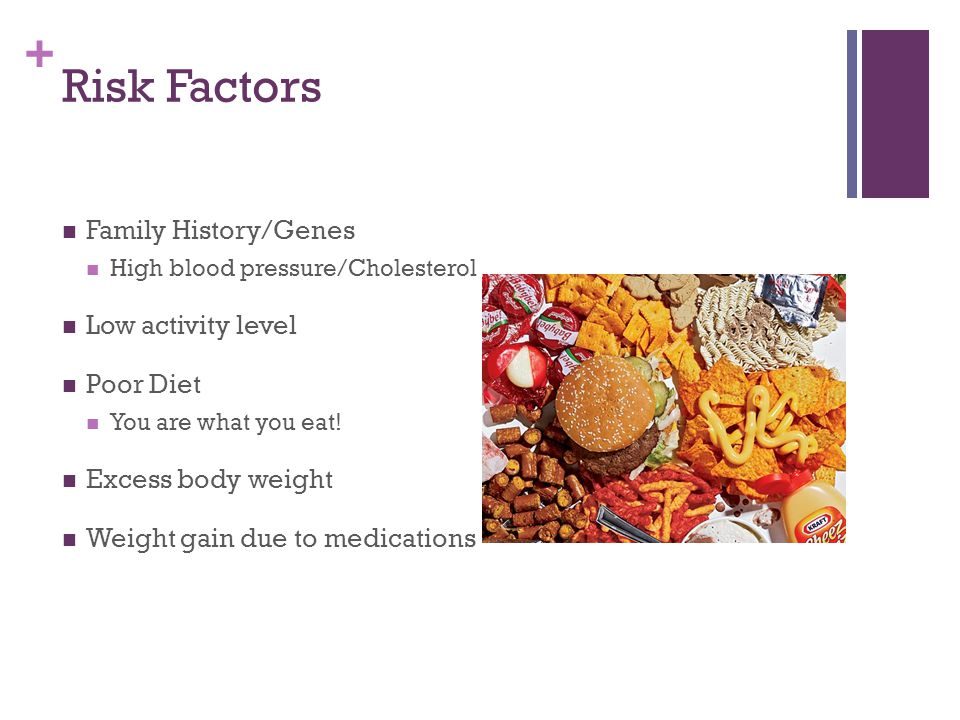 + Risk Factors Family History/Genes High blood pressure/Cholesterol Low activity level Poor Diet You are what you eat.