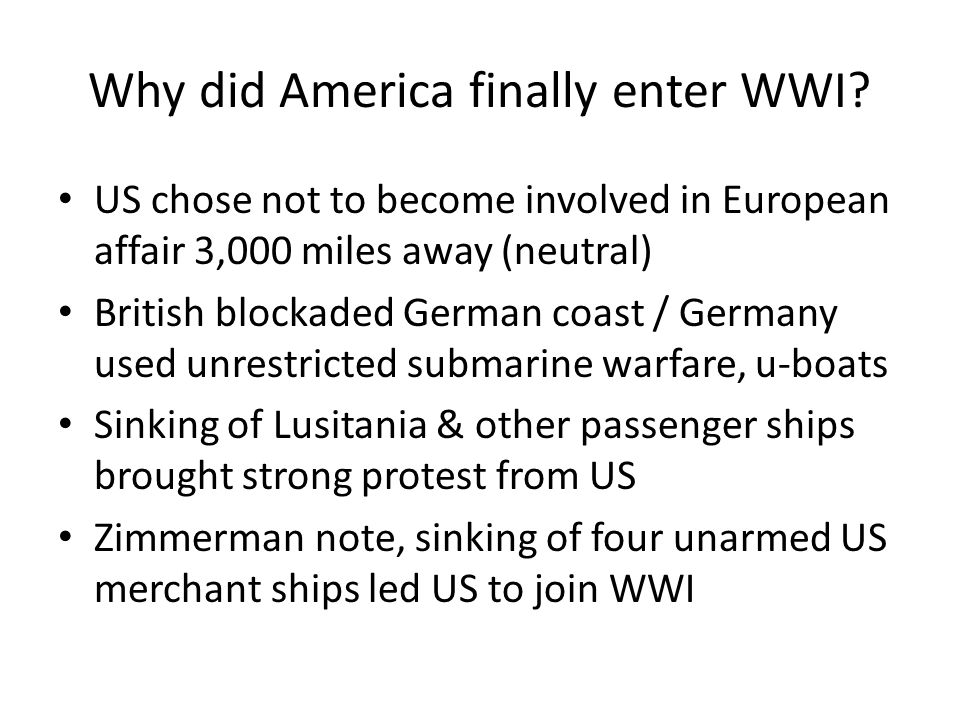 why did united states join ww1