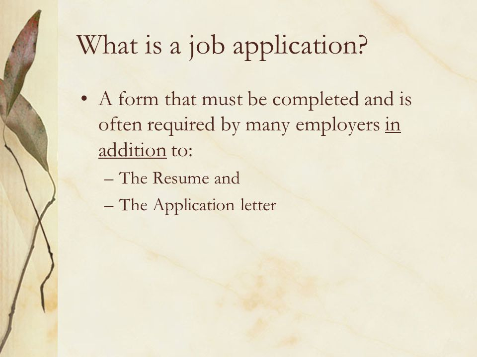 What is a job application.