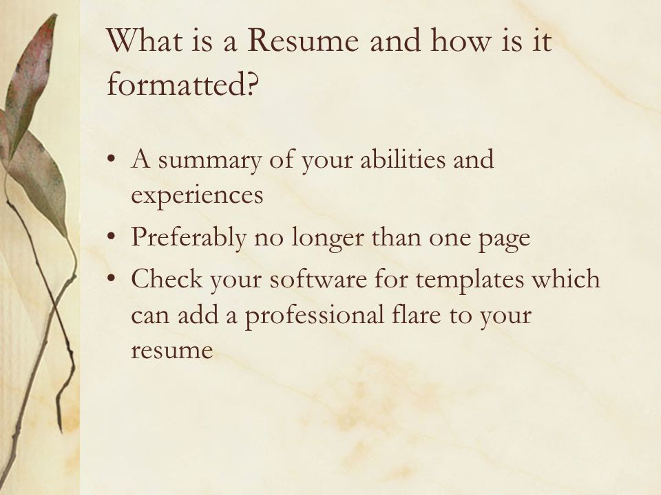 What is a Resume and how is it formatted.