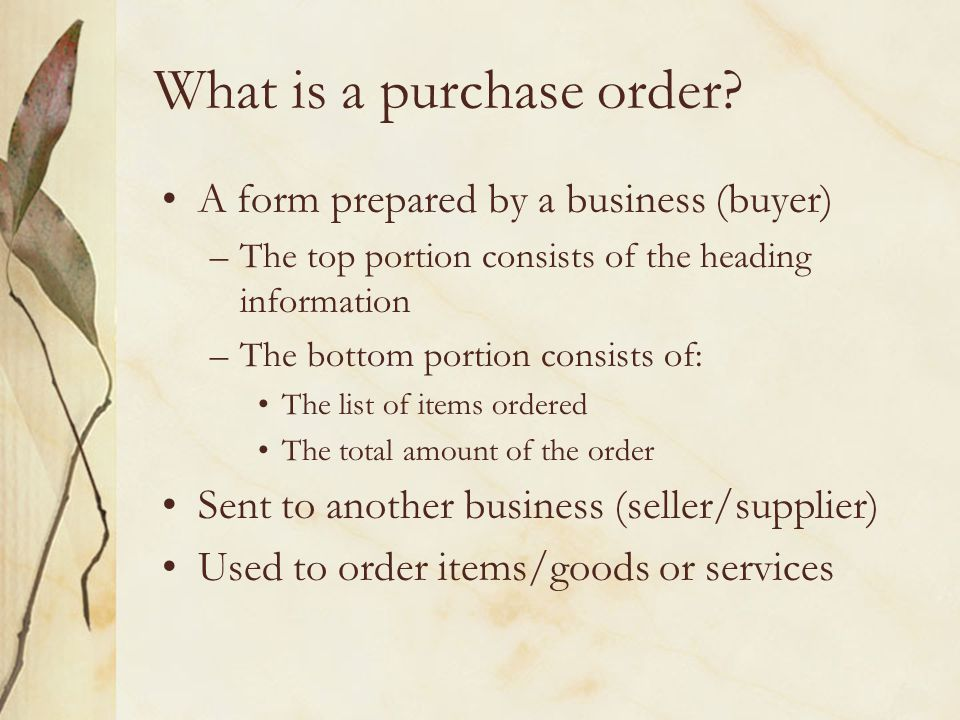 What is a purchase order.