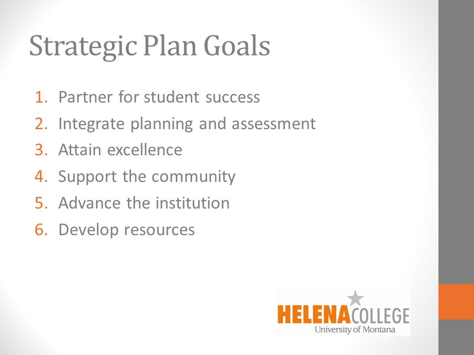 Strategic Plan Goals 1.Partner for student success 2.Integrate planning and assessment 3.Attain excellence 4.Support the community 5.Advance the institution 6.Develop resources