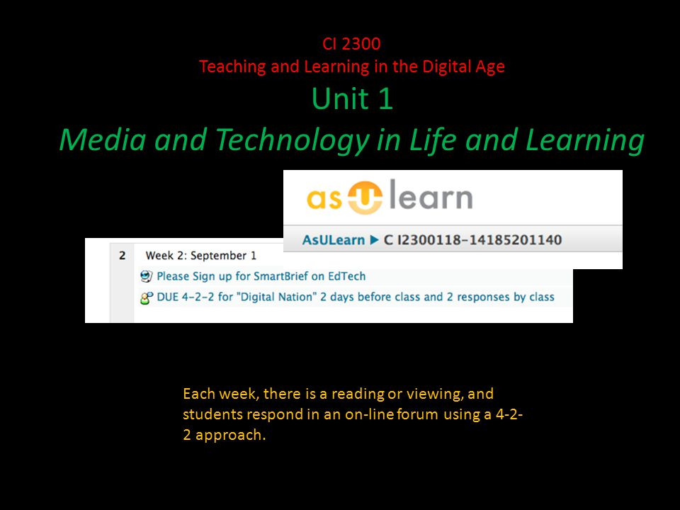 CI 2300 Teaching and Learning in the Digital Age Unit 1 Media and Technology in Life and Learning Each week, there is a reading or viewing, and students respond in an on-line forum using a approach.