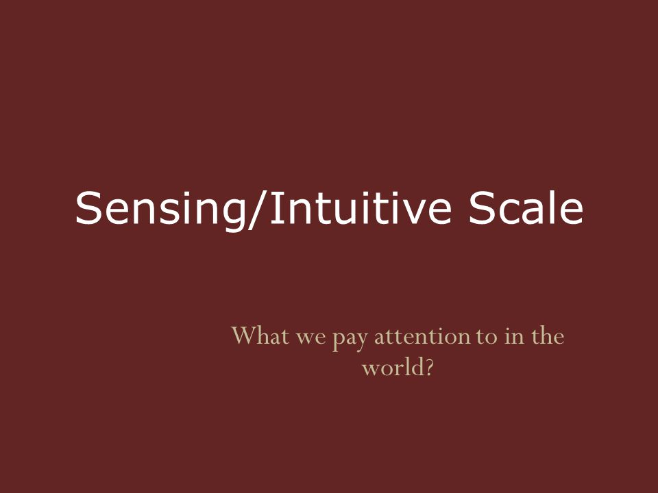 Sensing/Intuitive Scale What we pay attention to in the world