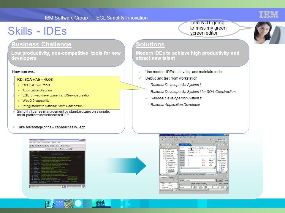 2008 IBM Corporation IBM Software Group EGL Simplify Innovation EGL