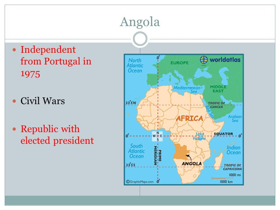 Angola Independent from Portugal in 1975 Civil Wars Republic with elected president