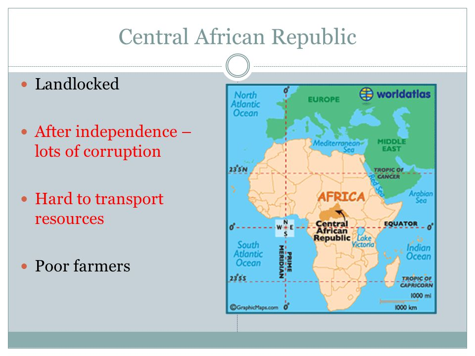 Central African Republic Landlocked After independence – lots of corruption Hard to transport resources Poor farmers