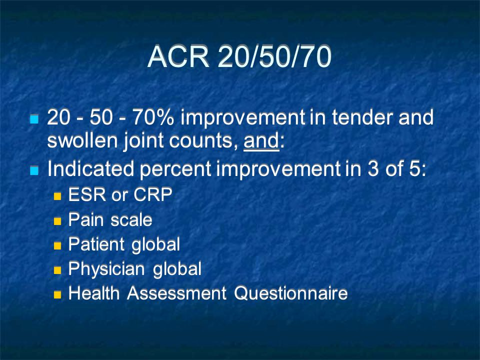 ACR 20/50/ % improvement in tender and swollen joint counts, and: Indicated percent improvement in 3 of 5: ESR or CRP Pain scale Patient global Physician global Health Assessment Questionnaire % improvement in tender and swollen joint counts, and: Indicated percent improvement in 3 of 5: ESR or CRP Pain scale Patient global Physician global Health Assessment Questionnaire
