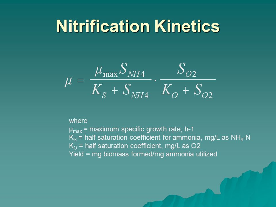 where μ max = maximum specific growth rate, h-1 K S = half saturation coefficient for ammonia, mg/L as NH 4 -N K O = half saturation coefficient, mg/L as O2 Yield = mg biomass formed/mg ammonia utilized Nitrification Kinetics