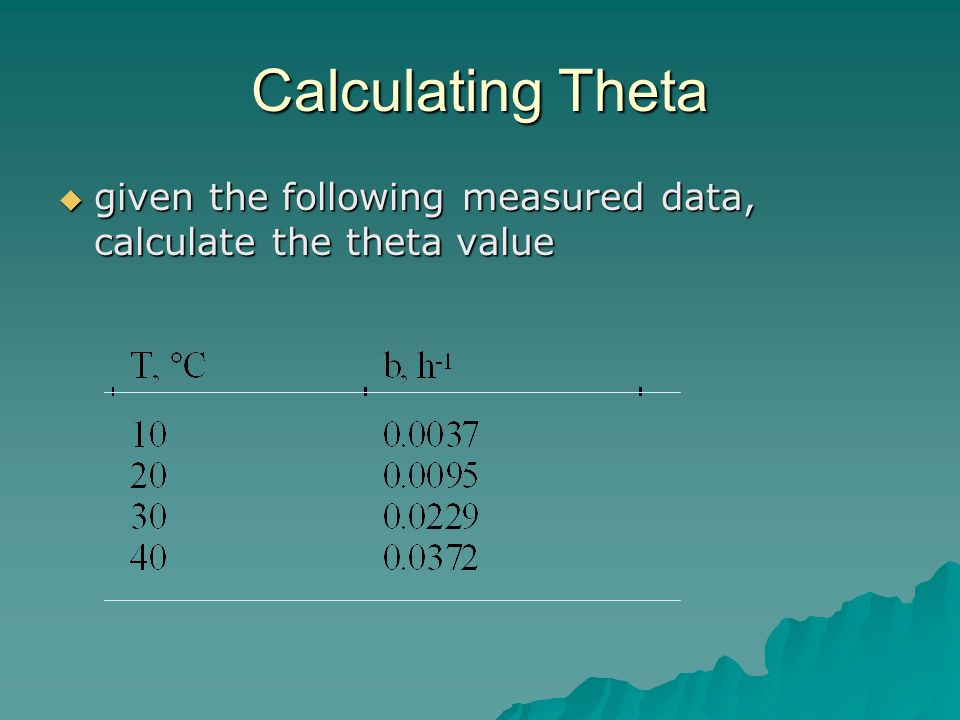 Calculating Theta  given the following measured data, calculate the theta value