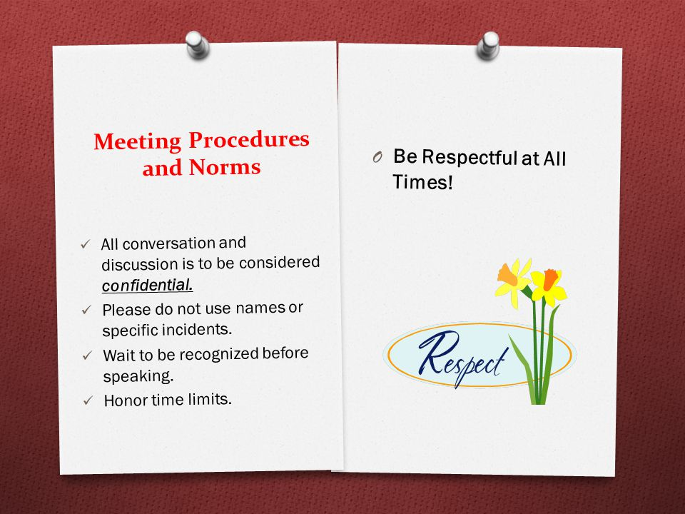 Meeting Procedures and Norms O Be Respectful at All Times.