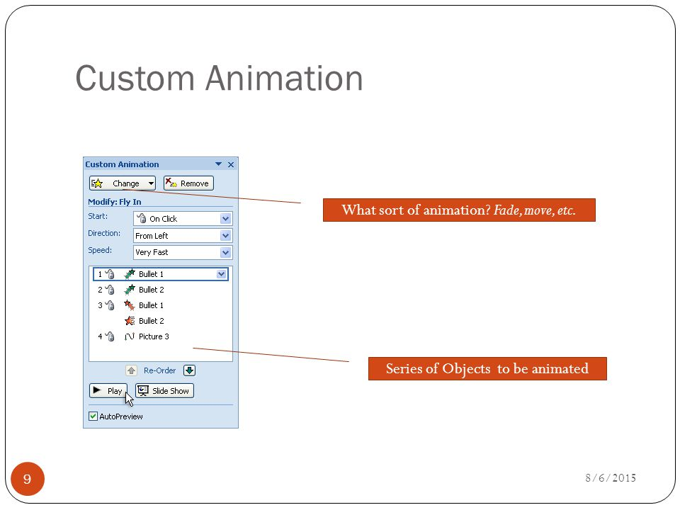Custom Animation Series of Objects to be animated What sort of animation.