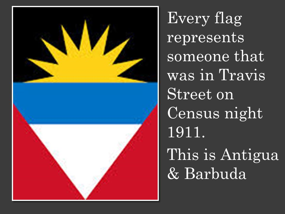 Every flag represents someone that was in Travis Street on Census night 1911.
