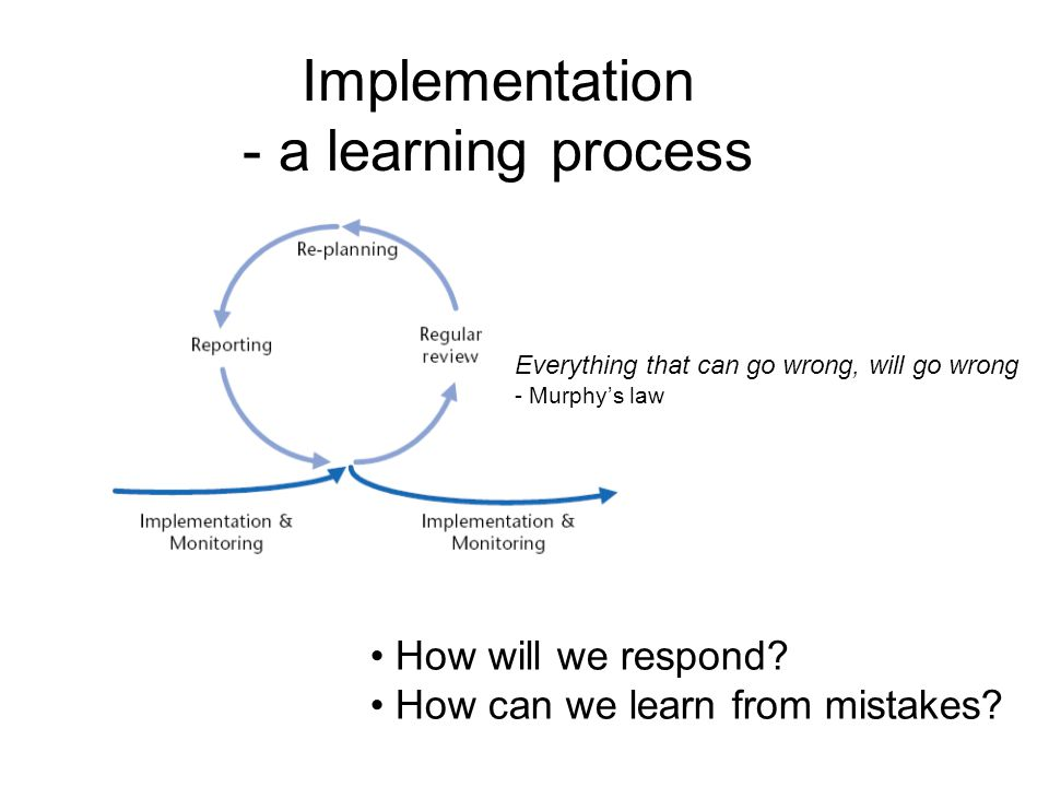 Implementation - a learning process Everything that can go wrong, will go wrong - Murphy's law How will we respond.