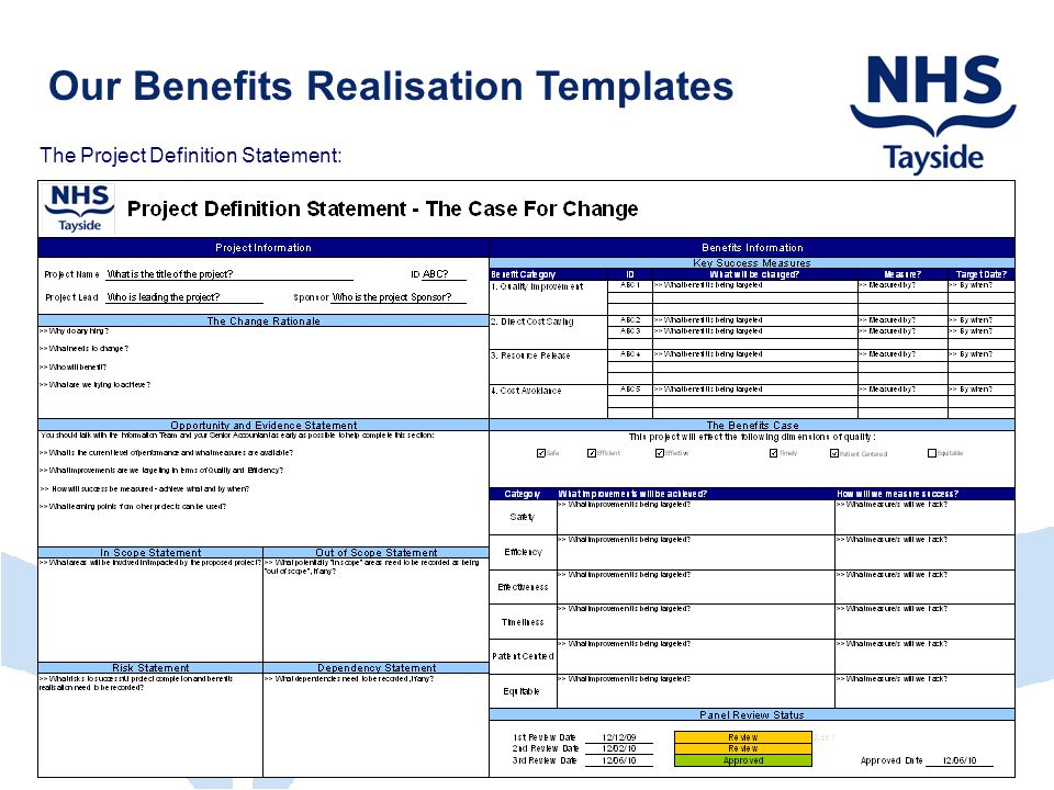 Our Benefits Realisation Templates The Project Definition Statement:
