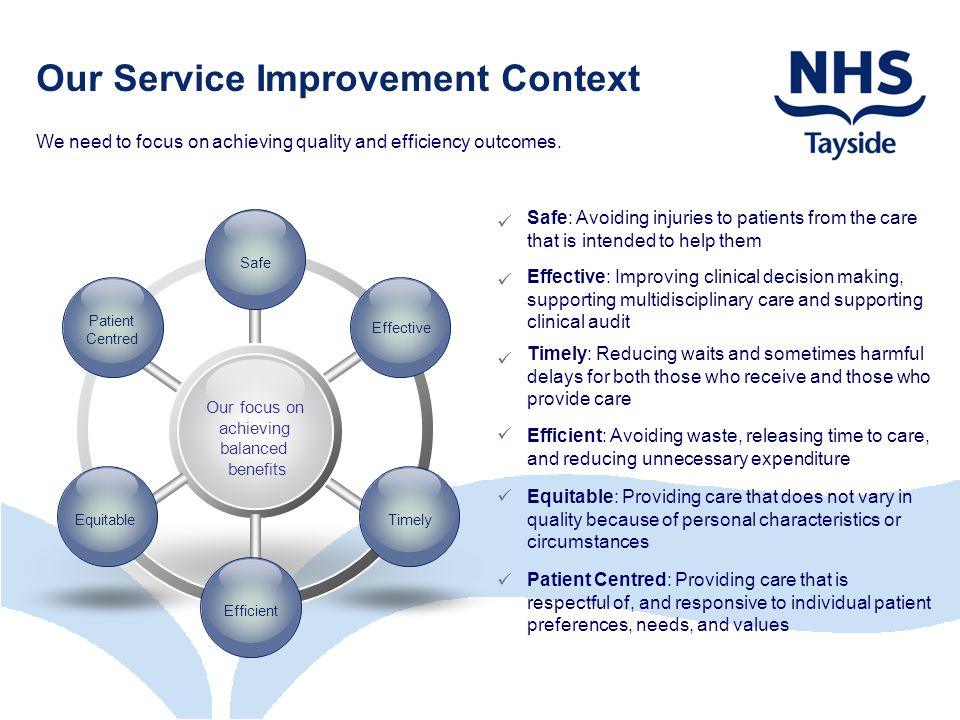 Our Service Improvement Context We need to focus on achieving quality and efficiency outcomes.