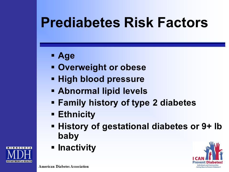 Prediabetes Risk Factors  Age  Overweight or obese  High blood pressure  Abnormal lipid levels  Family history of type 2 diabetes  Ethnicity  History of gestational diabetes or 9+ lb baby  Inactivity American Diabetes Association