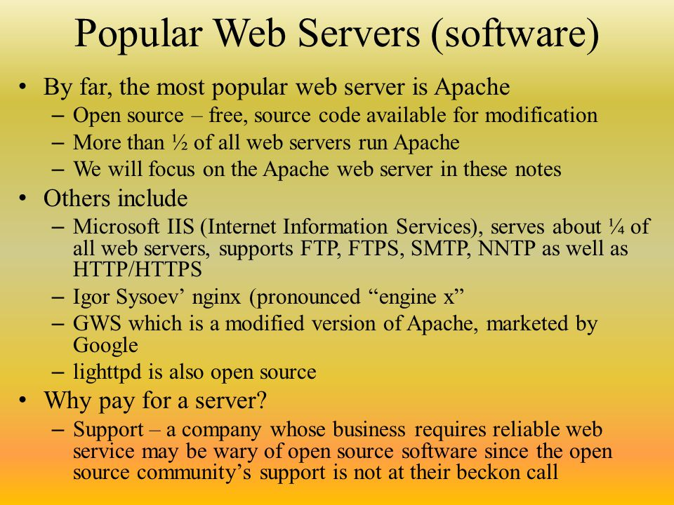 The Web Server Every web site (the collection of html/css
