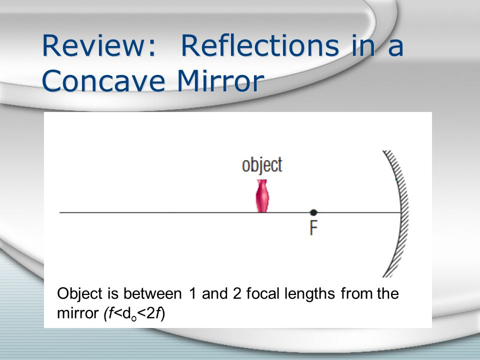 Review: Reflections in a Concave Mirror Object is between 1 and 2 focal lengths from the mirror (f<d o <2f)