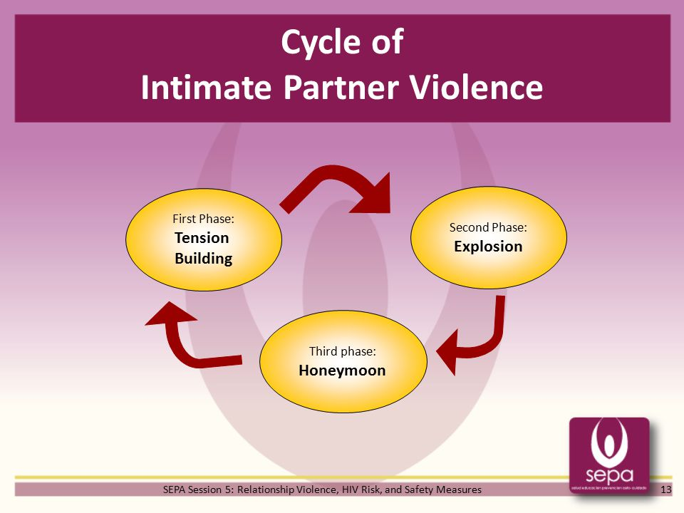 SEPA Session 5: Relationship Violence, HIV Risk, and Safety Measures Cycle of Intimate Partner Violence 13 First Phase: Tension Building Second Phase: Explosion Third phase: Honeymoon