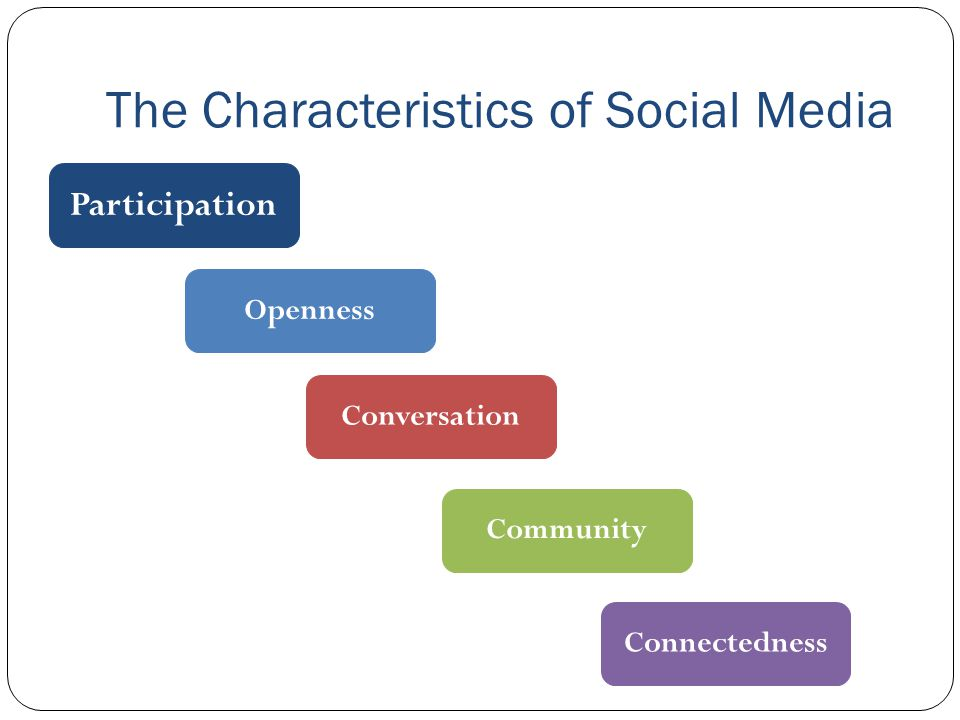 The Characteristics of Social Media Participation Openness Conversation Community Connectedness
