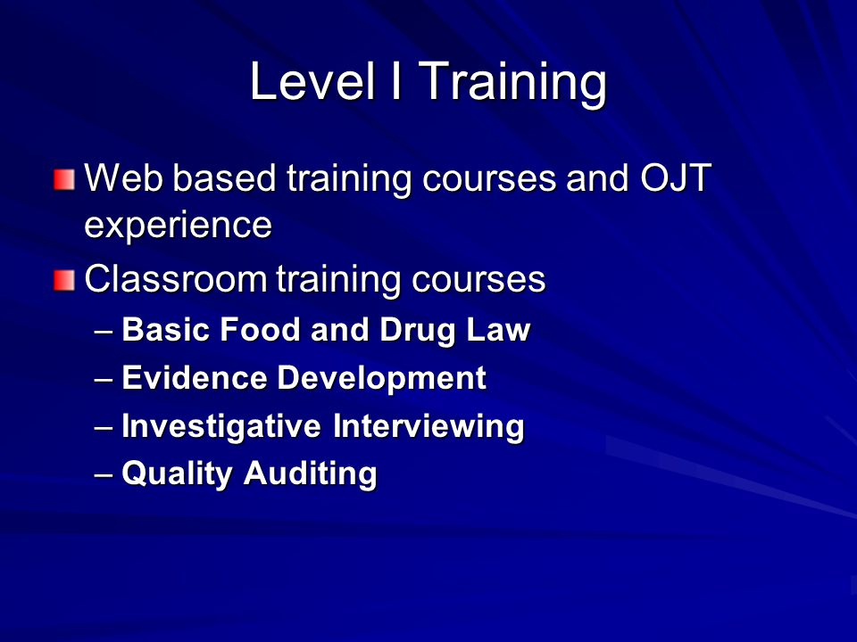 Fdas pharmaceutical inspectorate robert coleman national expert 9 level i training web based training courses and ojt experience classroom training courses basic food and drug law evidence development investigative malvernweather Image collections