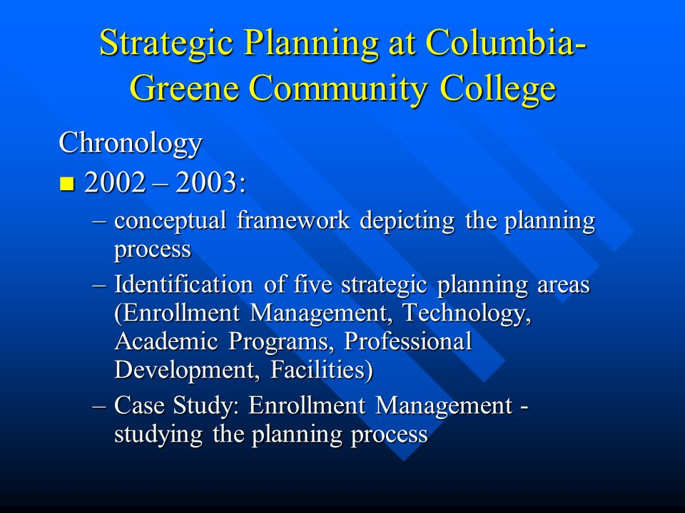 Strategic Planning at Columbia- Greene Community College Chronology 2002 – 2003: 2002 – 2003: –conceptual framework depicting the planning process –Identification of five strategic planning areas (Enrollment Management, Technology, Academic Programs, Professional Development, Facilities) –Case Study: Enrollment Management - studying the planning process