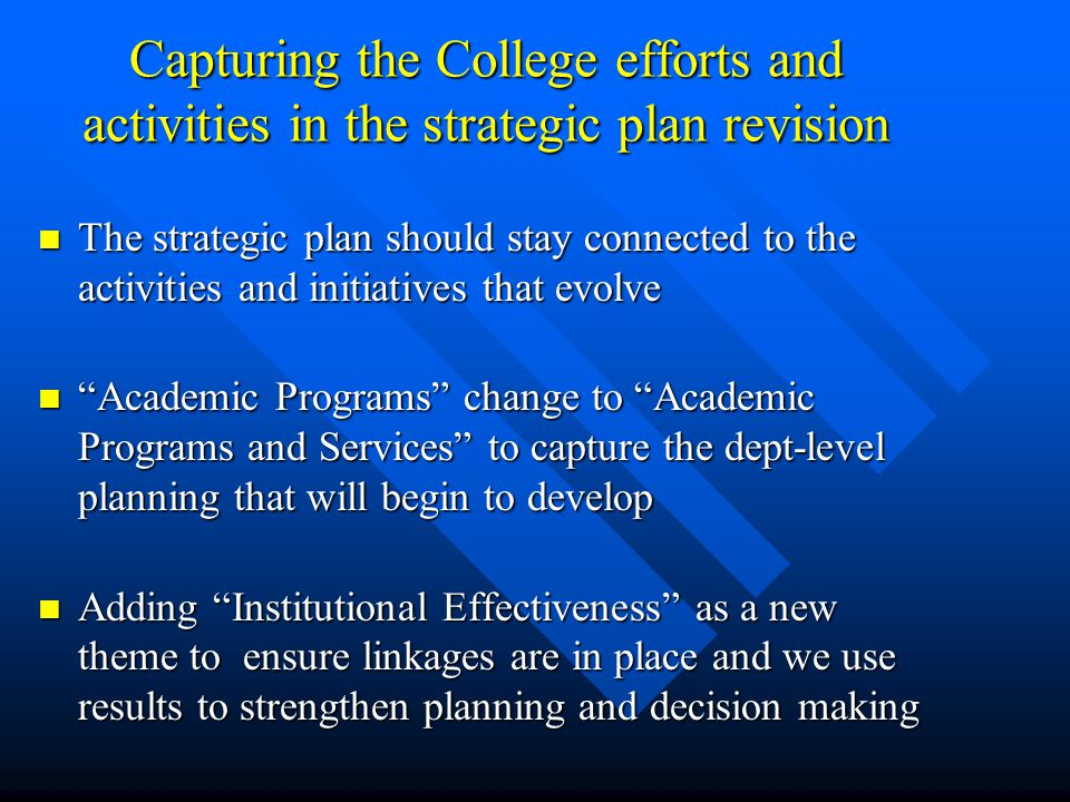 Capturing the College efforts and activities in the strategic plan revision The strategic plan should stay connected to the activities and initiatives that evolve The strategic plan should stay connected to the activities and initiatives that evolve Academic Programs change to Academic Programs and Services to capture the dept-level planning that will begin to develop Academic Programs change to Academic Programs and Services to capture the dept-level planning that will begin to develop Adding Institutional Effectiveness as a new theme to ensure linkages are in place and we use results to strengthen planning and decision making Adding Institutional Effectiveness as a new theme to ensure linkages are in place and we use results to strengthen planning and decision making