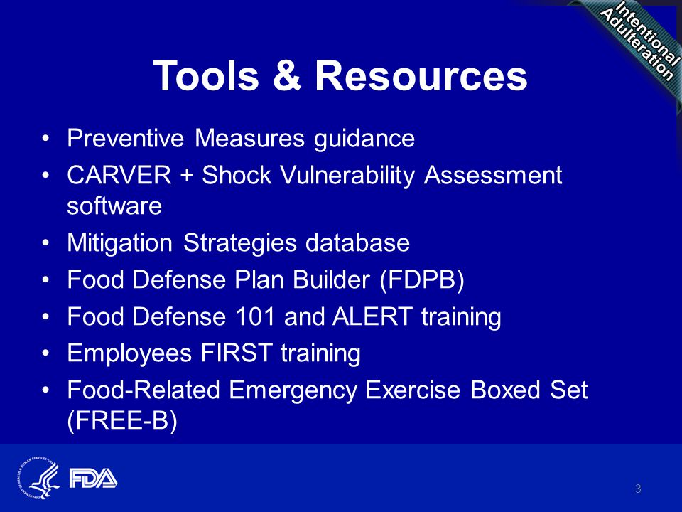 FDA Food Defense Tools and Resources ppt download