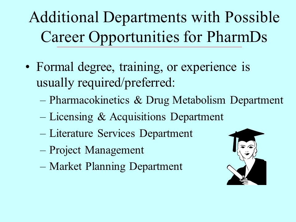Additional Departments with Possible Career Opportunities for PharmDs Formal degree, training, or experience is usually required/preferred: –Pharmacokinetics & Drug Metabolism Department –Licensing & Acquisitions Department –Literature Services Department –Project Management –Market Planning Department