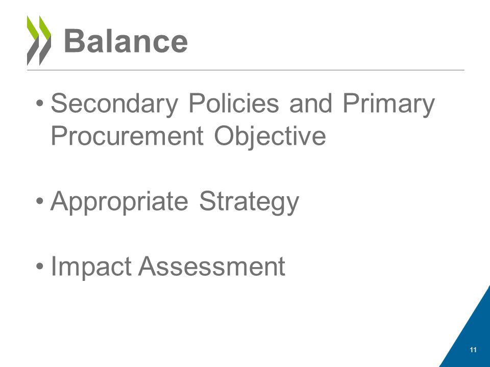 Balance Secondary Policies and Primary Procurement Objective Appropriate Strategy Impact Assessment 11
