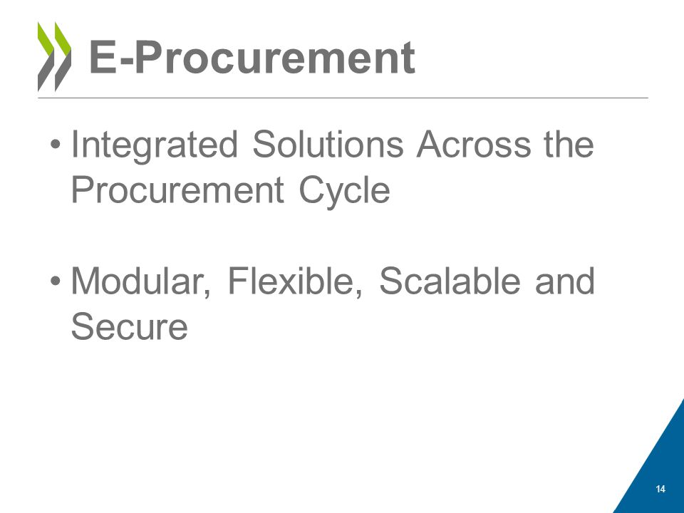 E-Procurement Integrated Solutions Across the Procurement Cycle Modular, Flexible, Scalable and Secure 14