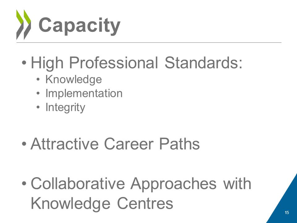 Capacity High Professional Standards: Knowledge Implementation Integrity Attractive Career Paths Collaborative Approaches with Knowledge Centres 15