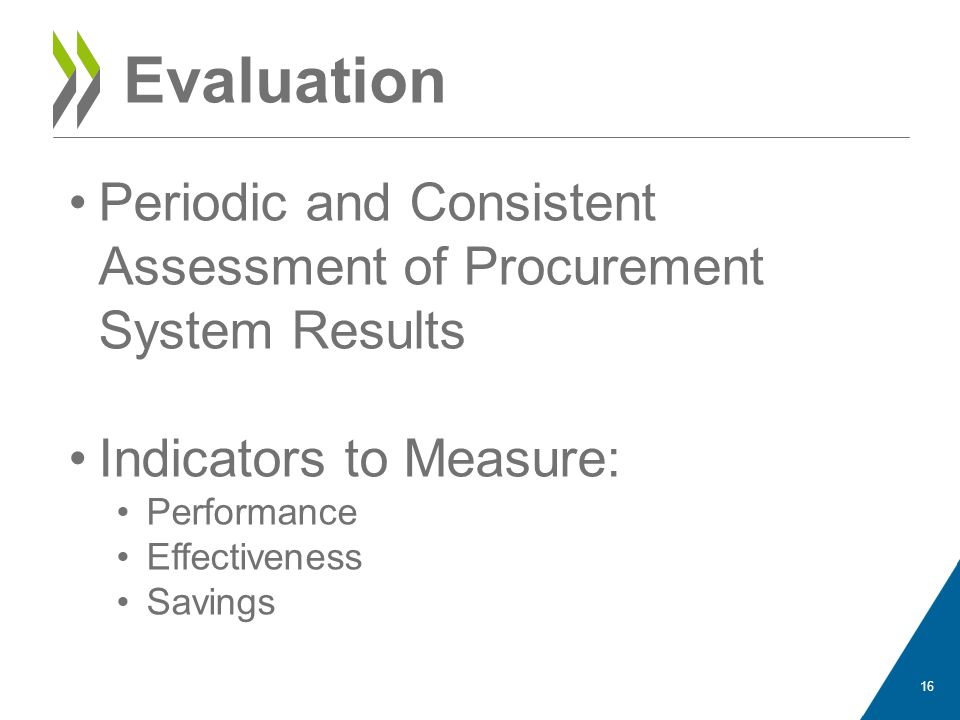 Evaluation Periodic and Consistent Assessment of Procurement System Results Indicators to Measure: Performance Effectiveness Savings 16