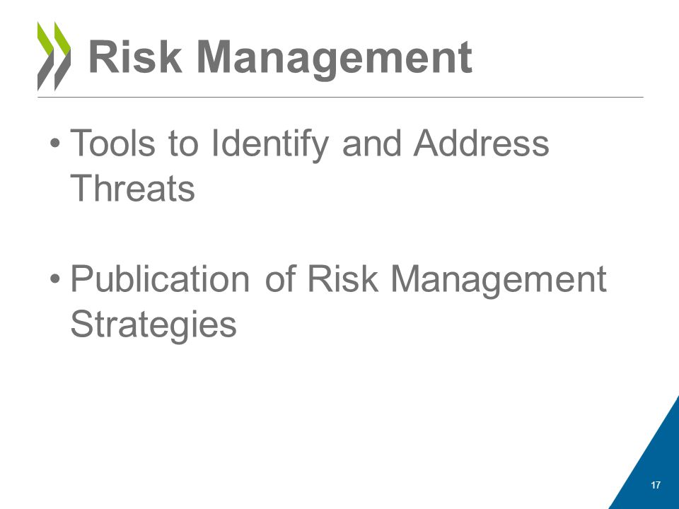 Risk Management Tools to Identify and Address Threats Publication of Risk Management Strategies 17