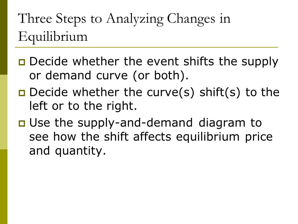 Three Steps to Analyzing Changes in Equilibrium  Decide whether the event shifts the supply or demand curve (or both).