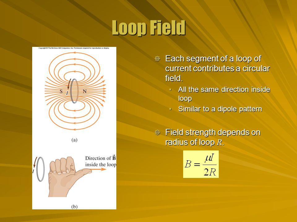 Loop Field  Each segment of a loop of current contributes a circular field.