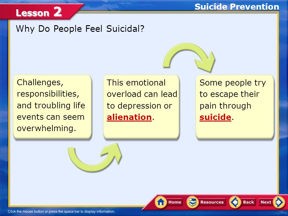 Lesson 2 List the warning signs of suicide Determine strategies to prevent suicides and strategies for coping with depression In this lesson, you will learn to: Lesson Objectives