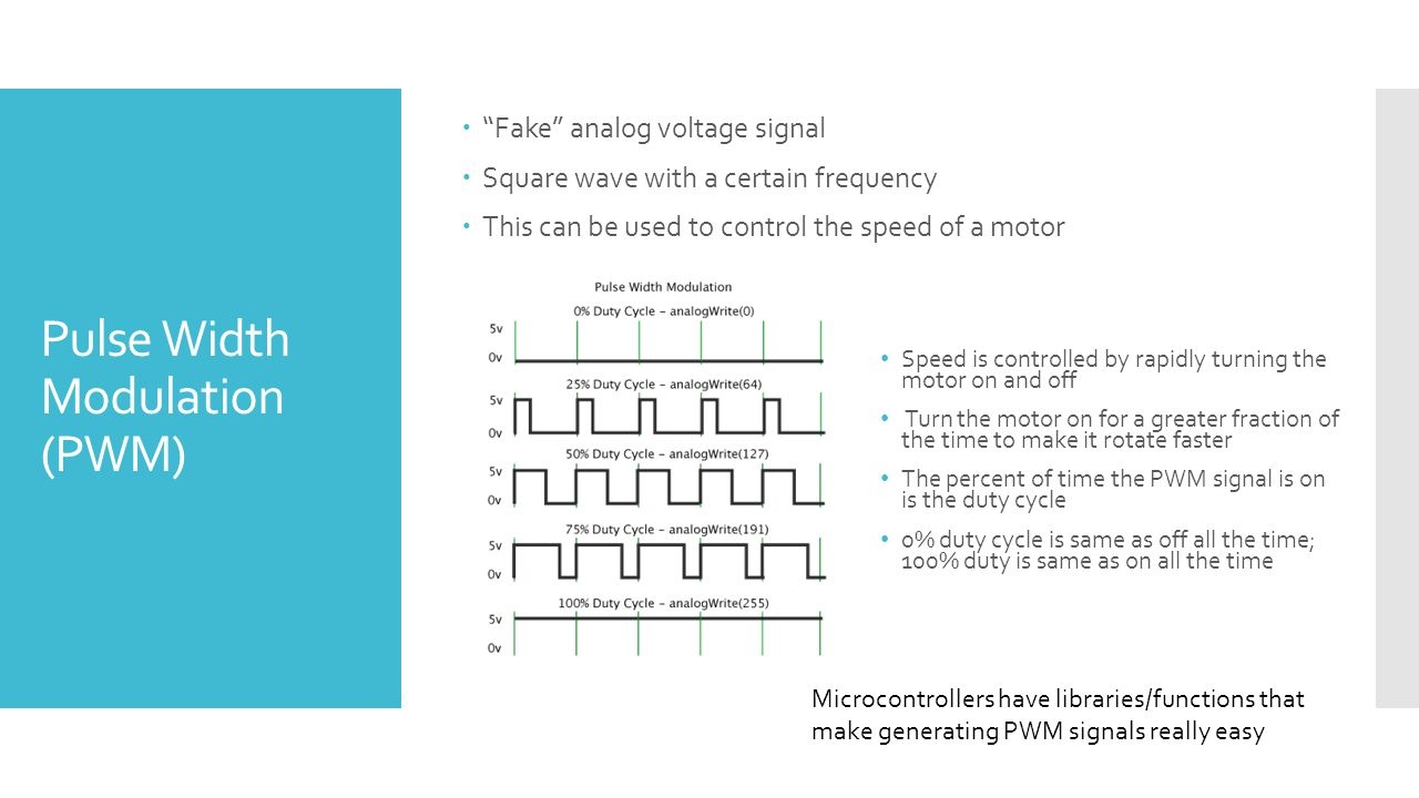 Pulse Width Modulation (PWM)  Fake analog voltage signal  Square wave with a certain frequency  This can be used to control the speed of a motor Speed is controlled by rapidly turning the motor on and off Turn the motor on for a greater fraction of the time to make it rotate faster The percent of time the PWM signal is on is the duty cycle 0% duty cycle is same as off all the time; 100% duty is same as on all the time Microcontrollers have libraries/functions that make generating PWM signals really easy