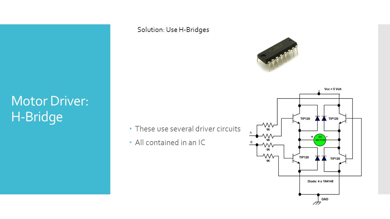 Motor Driver: H-Bridge  These use several driver circuits  All contained in an IC Solution: Use H-Bridges
