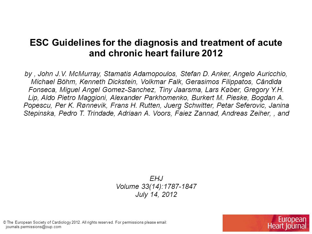 ESC Guidelines for the diagnosis and treatment of acute and