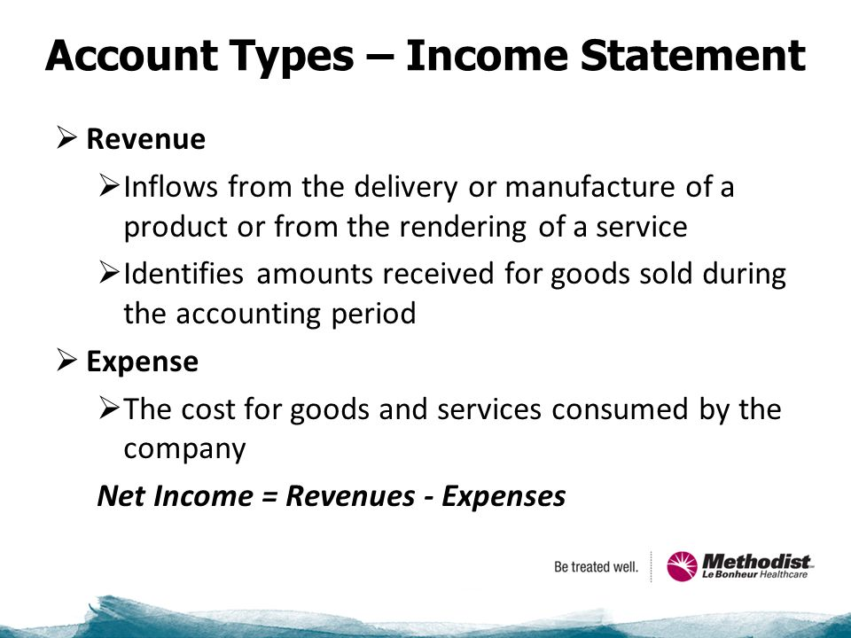 Account Types – Income Statement  Revenue  Inflows from the delivery or manufacture of a product or from the rendering of a service  Identifies amounts received for goods sold during the accounting period  Expense  The cost for goods and services consumed by the company Net Income = Revenues - Expenses