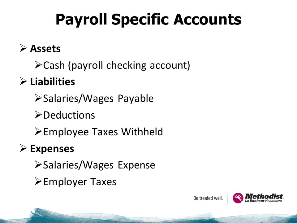 Payroll Specific Accounts  Assets  Cash (payroll checking account)  Liabilities  Salaries/Wages Payable  Deductions  Employee Taxes Withheld  Expenses  Salaries/Wages Expense  Employer Taxes