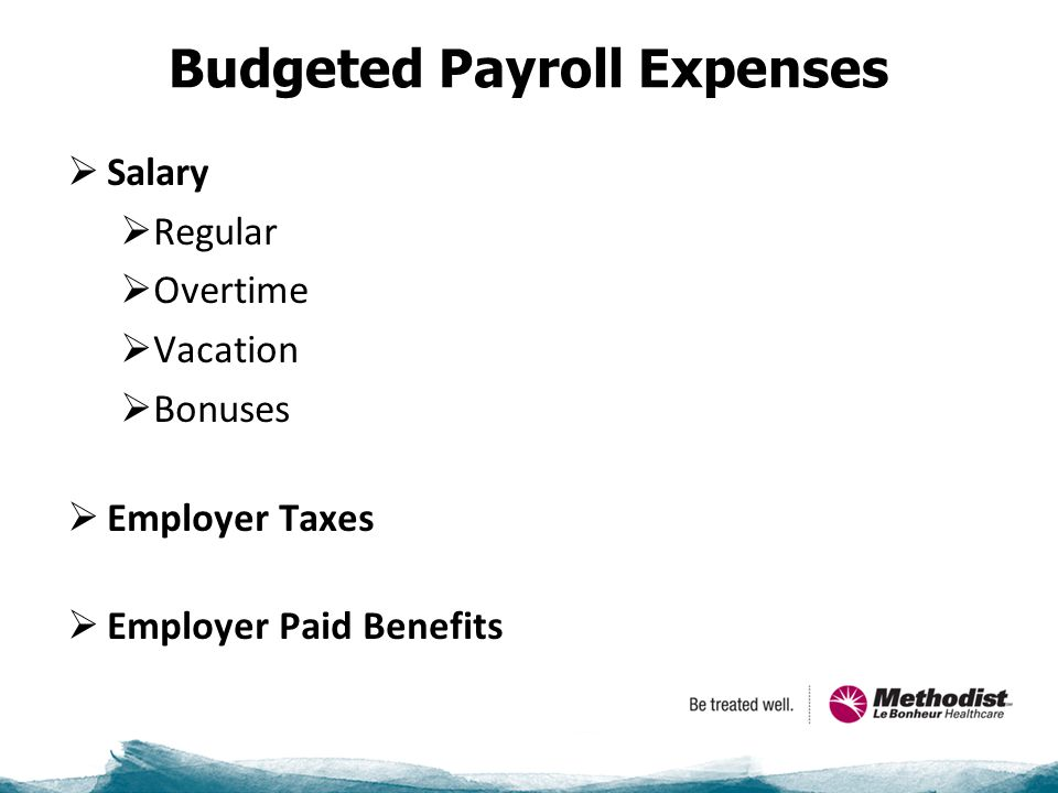 Budgeted Payroll Expenses  Salary  Regular  Overtime  Vacation  Bonuses  Employer Taxes  Employer Paid Benefits