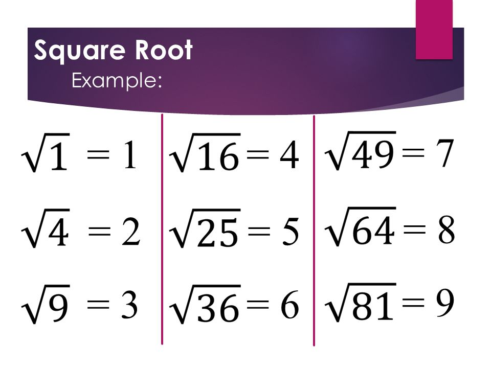 Square Root Example: = 1 = 2 = 3 = 4 = 5 = 6 = 7 = 8 = 9