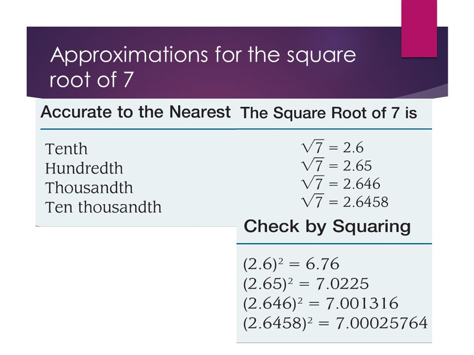 Approximations for the square root of 7